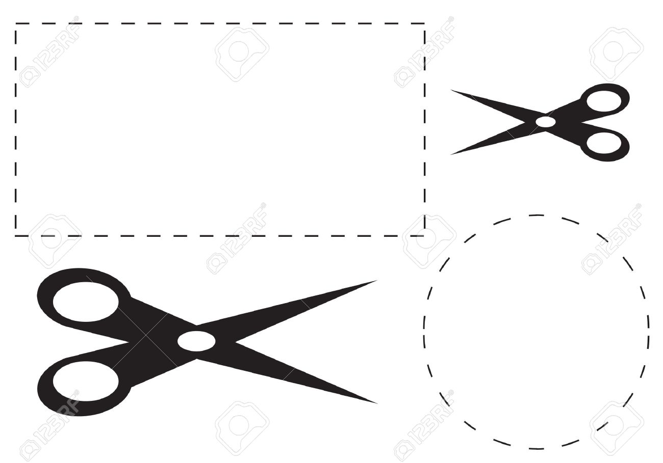 A Square And Round Cut Out Coupon With Scissors Stock Photo Picture