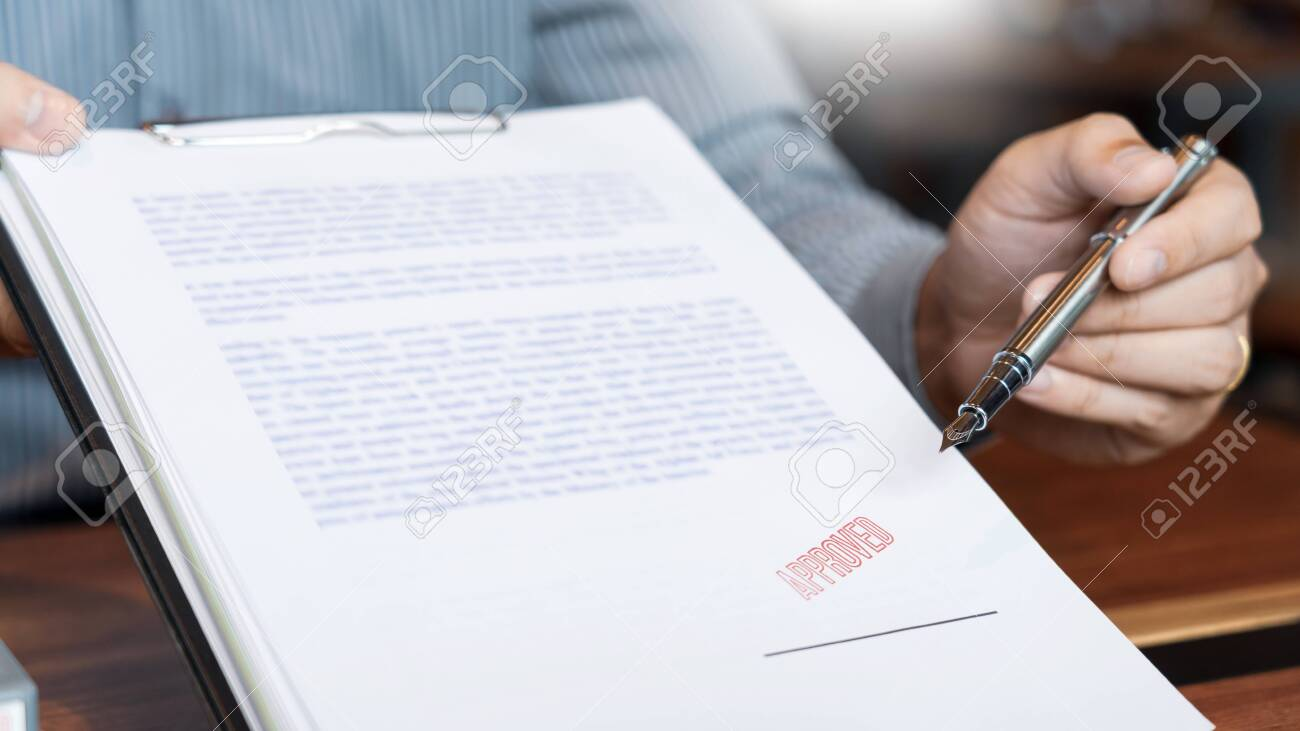 male point to signing business document for putting signature, fountain pen and approved stamped on a document, certificate contract agreement lawyer hand concept - 131999523
