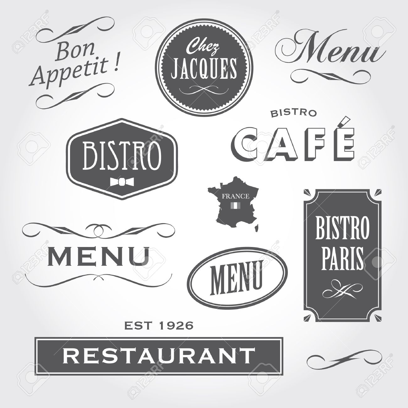 Set Of French Retro Vintage Ornaments Badges Banners Labels Royalty Free Cliparts Vectors And Stock Illustration Image 16211820