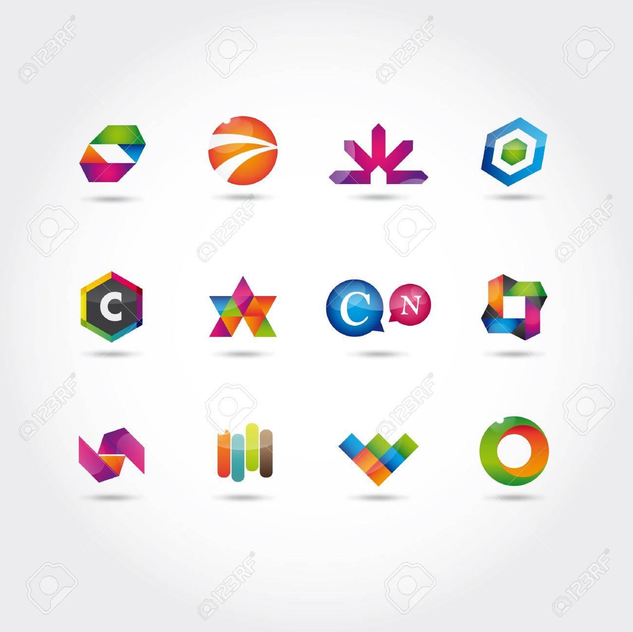 Glänzend Und Bunten Logo Und Symbole Vorlage Lizenzfrei Nutzbare ...
