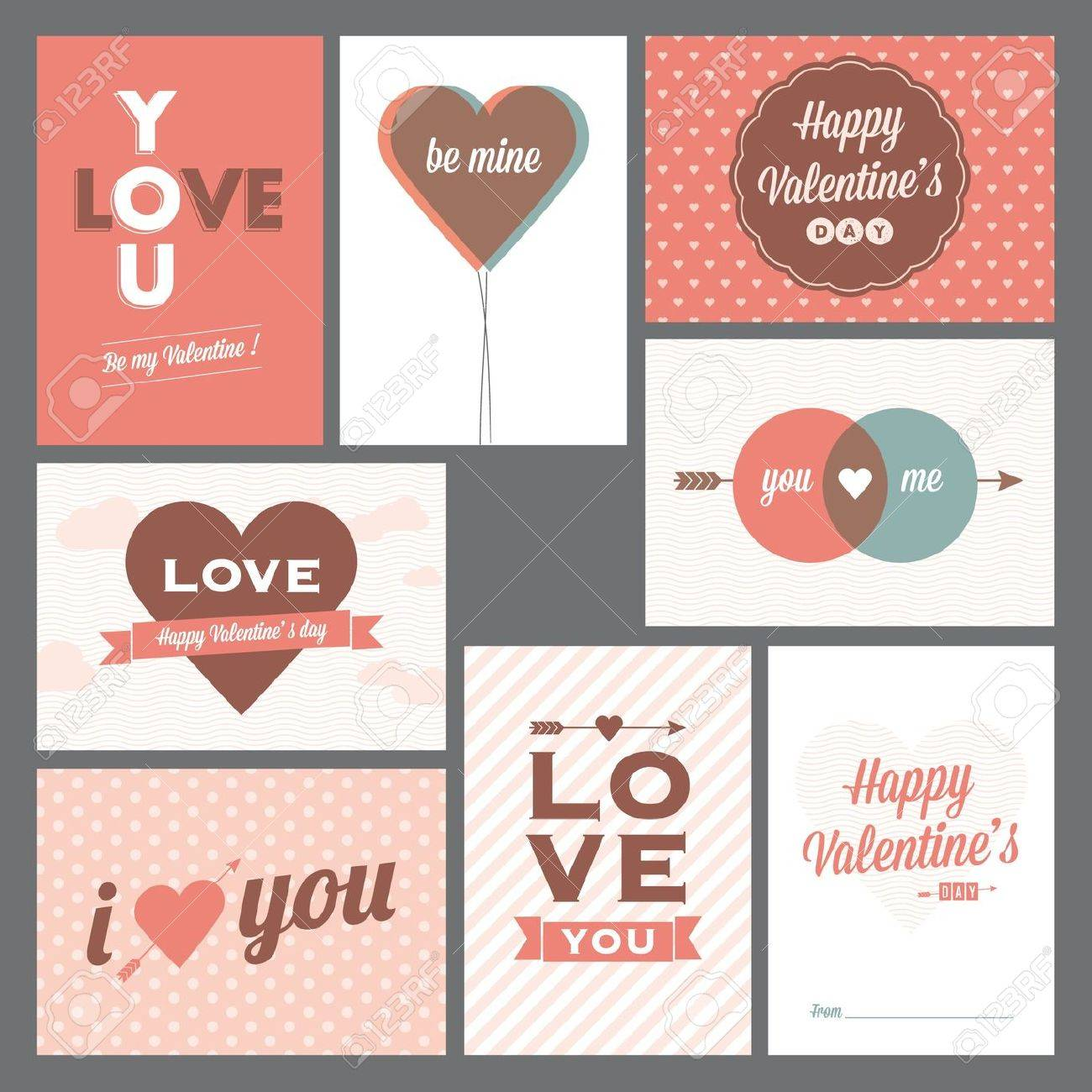 8 elegant and trendy happy valentine�s day and weeding cards Stock Vector - 16659241