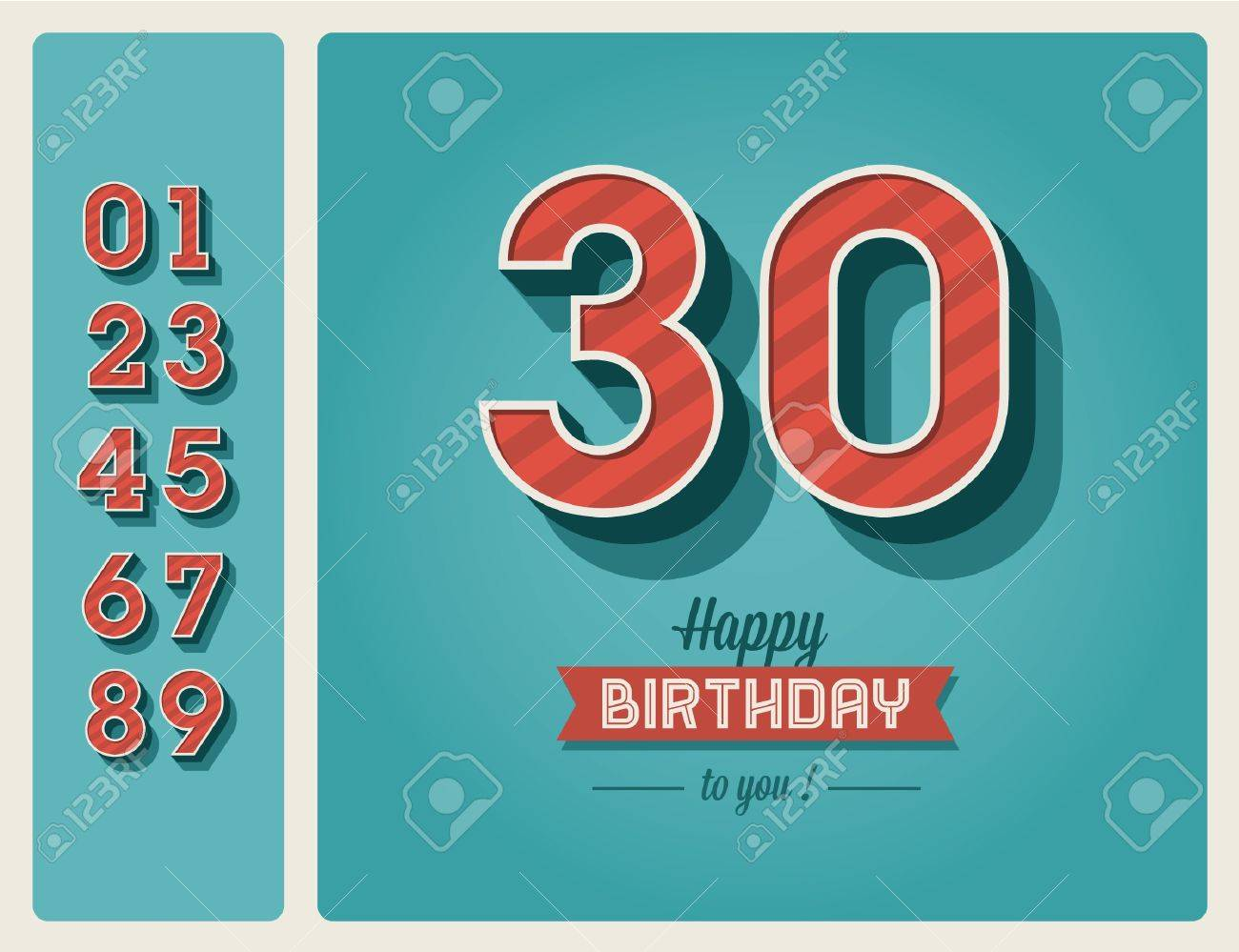 Template happy birthday card with number editable Stock Vector - 16758135