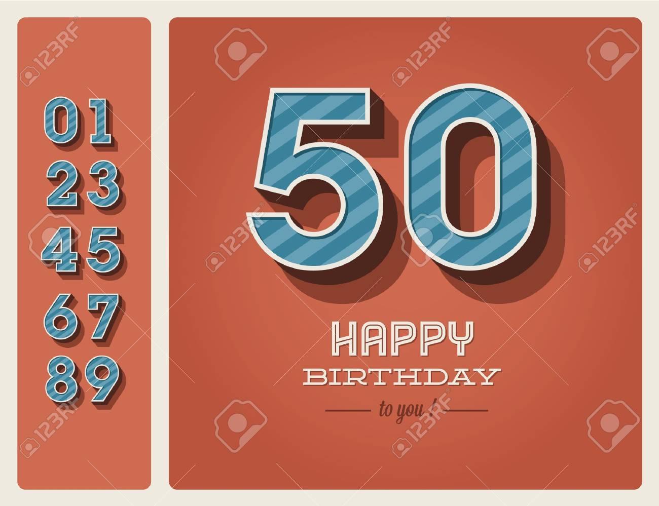 Plantilla De Tarjeta De Cumpleaños Feliz Con Número Editable ...