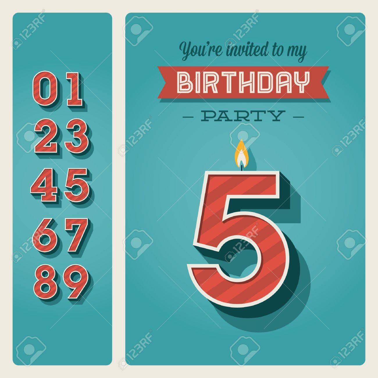 Plantilla De Tarjeta De Invitación De Cumpleaños Con Vela Número ...