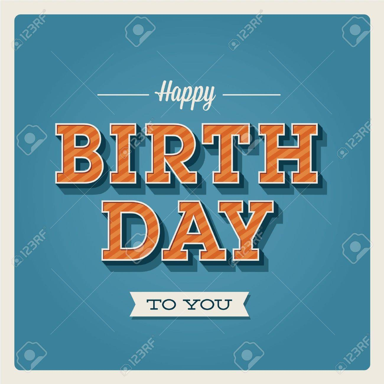 Happy birthday card retro vintage typography letters font happy birthday card retro vintage typography letters font type editable for invitation happy thecheapjerseys Images