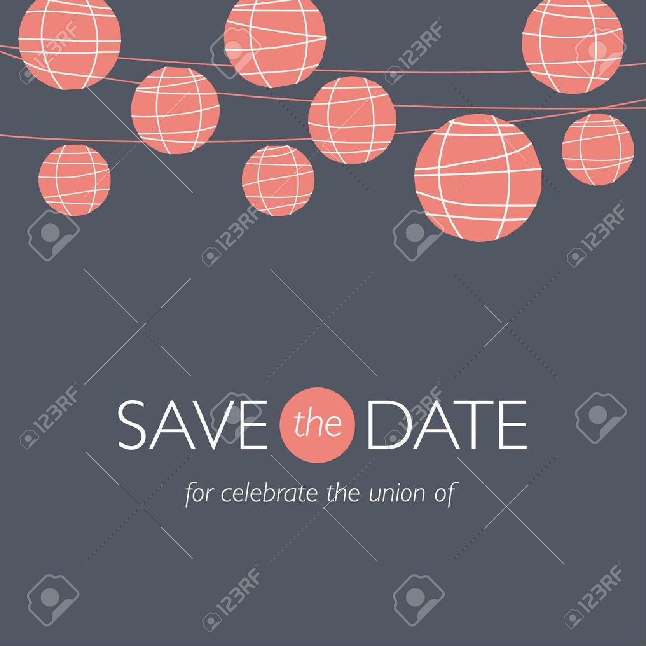 wedding invitation card, save the date, balloons paper lamps, wedding background illustration vector Stock Vector - 17435001