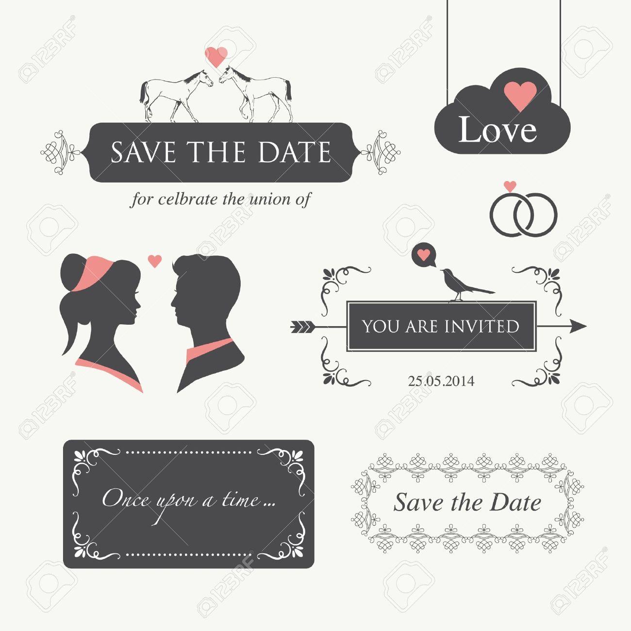 Set Of Wedding Logo Design Illustration Elements And Ornament