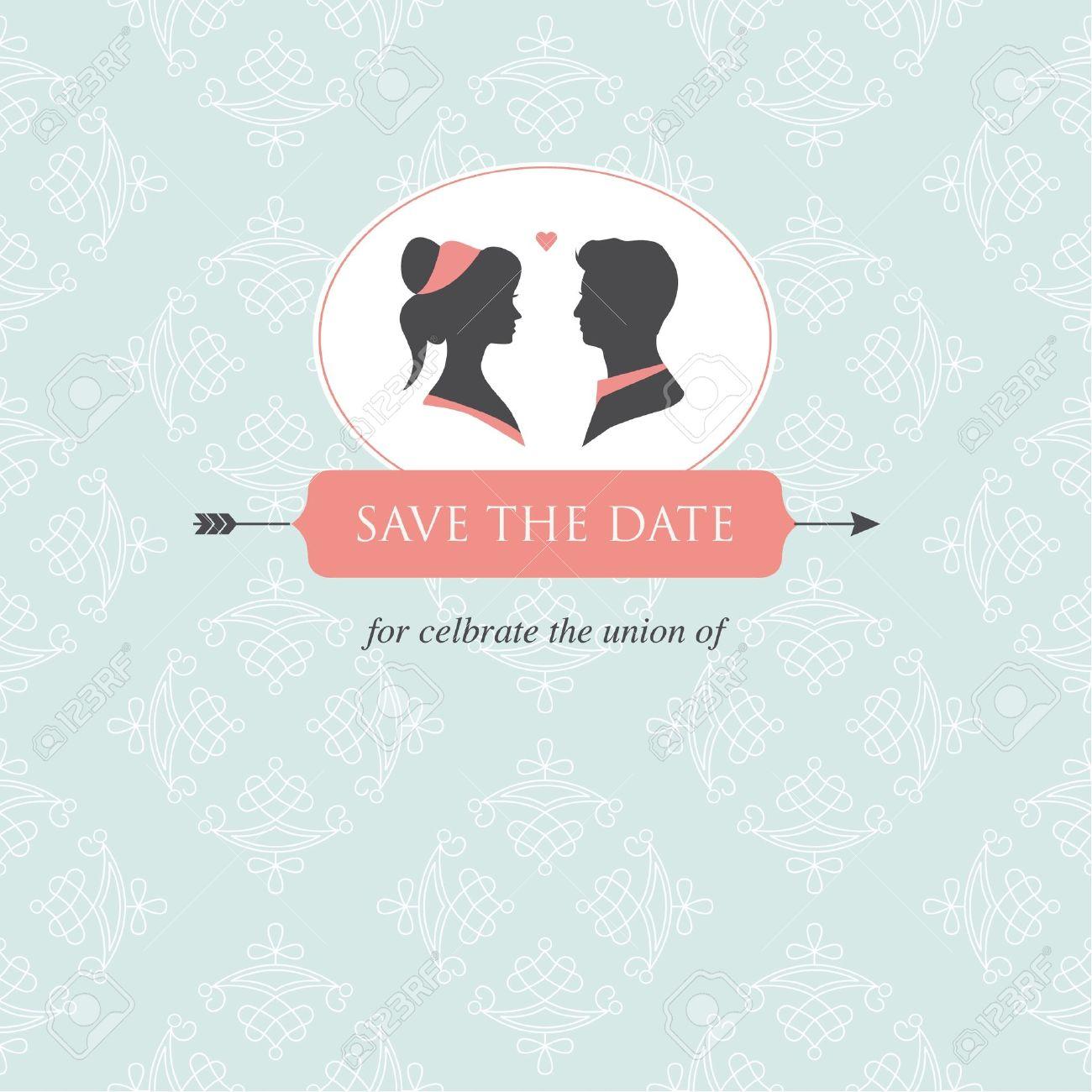 Hochzeit Einladungskarte Vorlage Editierbar Mit Brautpaar Illustration Und  Hochzeit Hintergrund Lizenzfreie Bilder 17552239