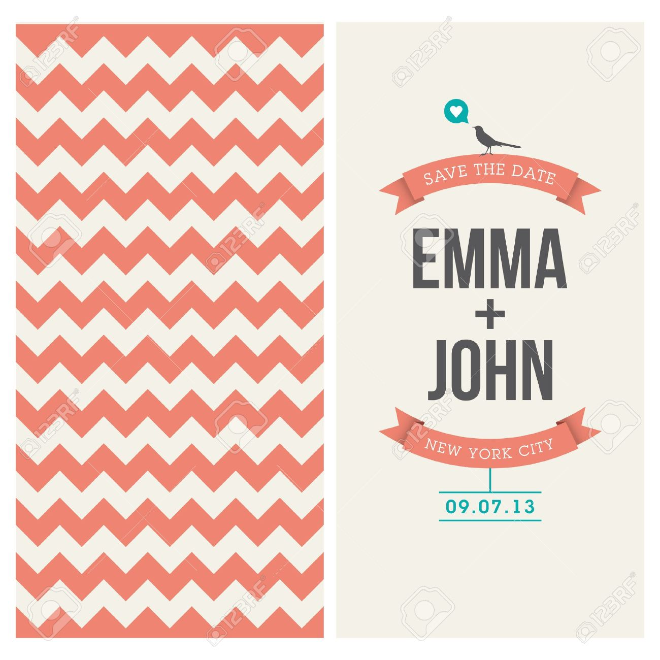 Wedding Invitation Card Editable With Backround Chevron, Font ...