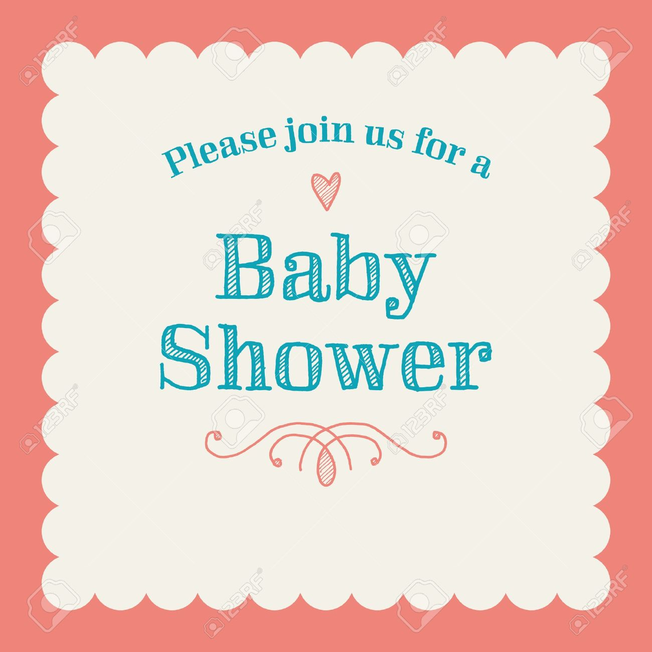 baby shower invitation card editable with type font ornaments