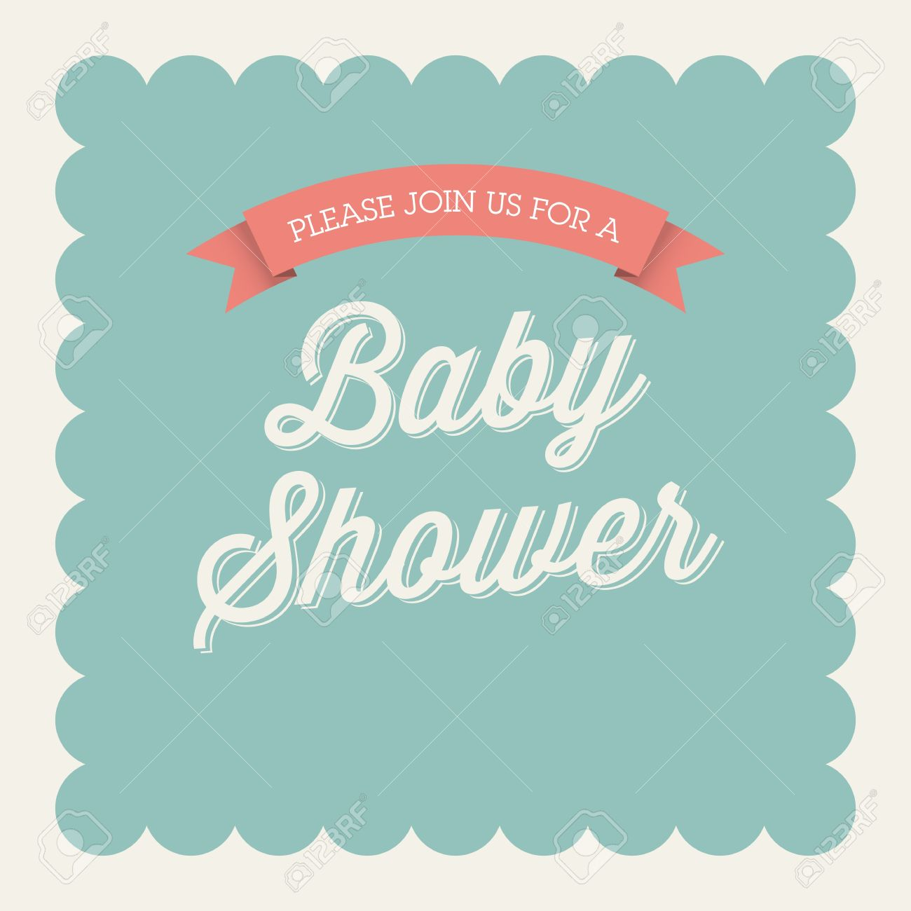 Superior Baby Shower Invitation Card Editable With Type, Font, Ribbon, Frame Border  Vintage Stock