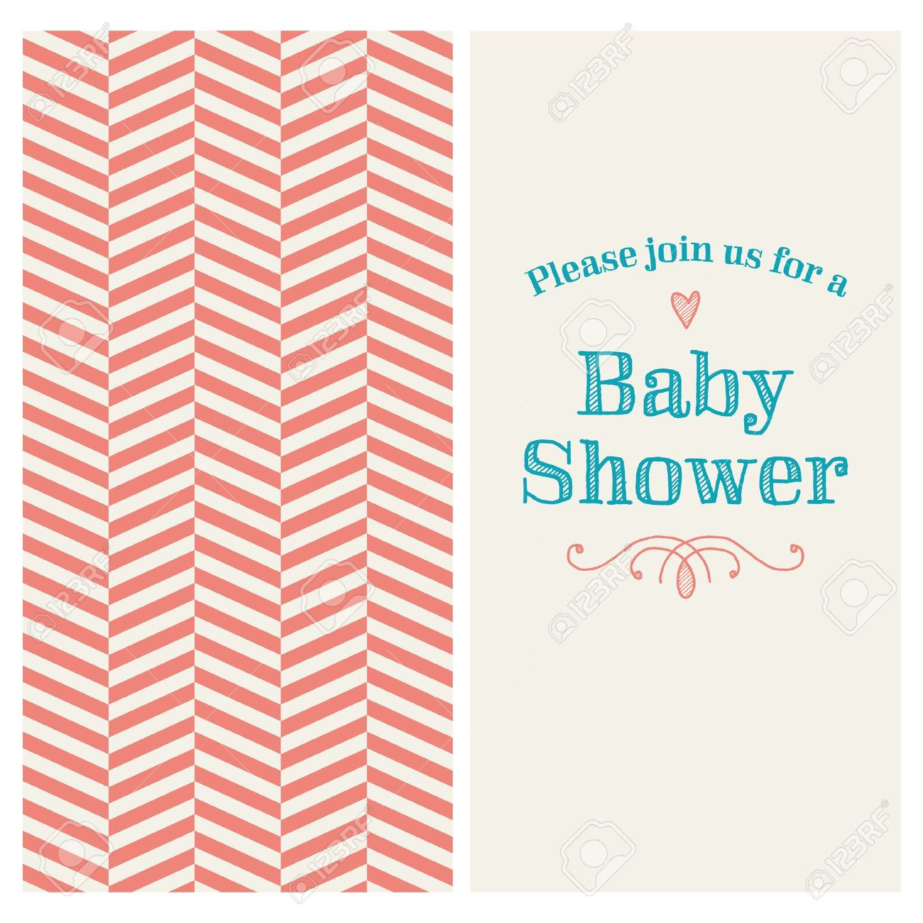 Baby shower invitation card editable with vintage retro background baby shower invitation card editable with vintage retro background chevron type font ornaments stopboris Images
