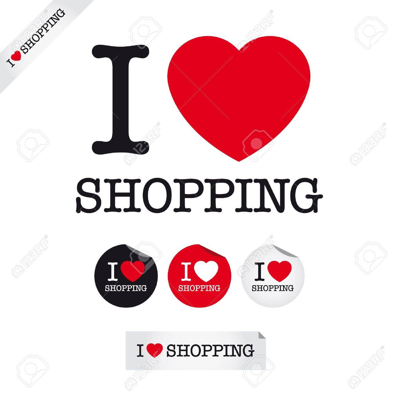 i love shopping, font type with signs, stickers and tags Stock Vector - 19724129