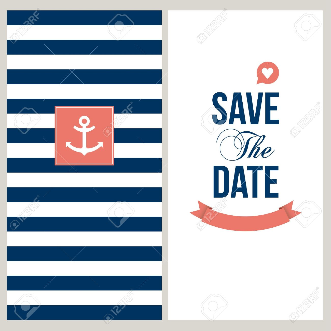 Wedding Invitation Card Save The Date Sailor Theme Text And