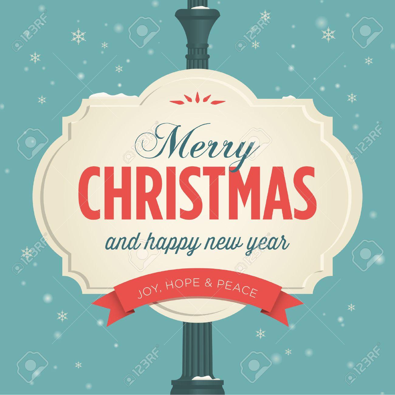 Merry Christmas Card Retro Vintage Royalty Free Cliparts, Vectors ...
