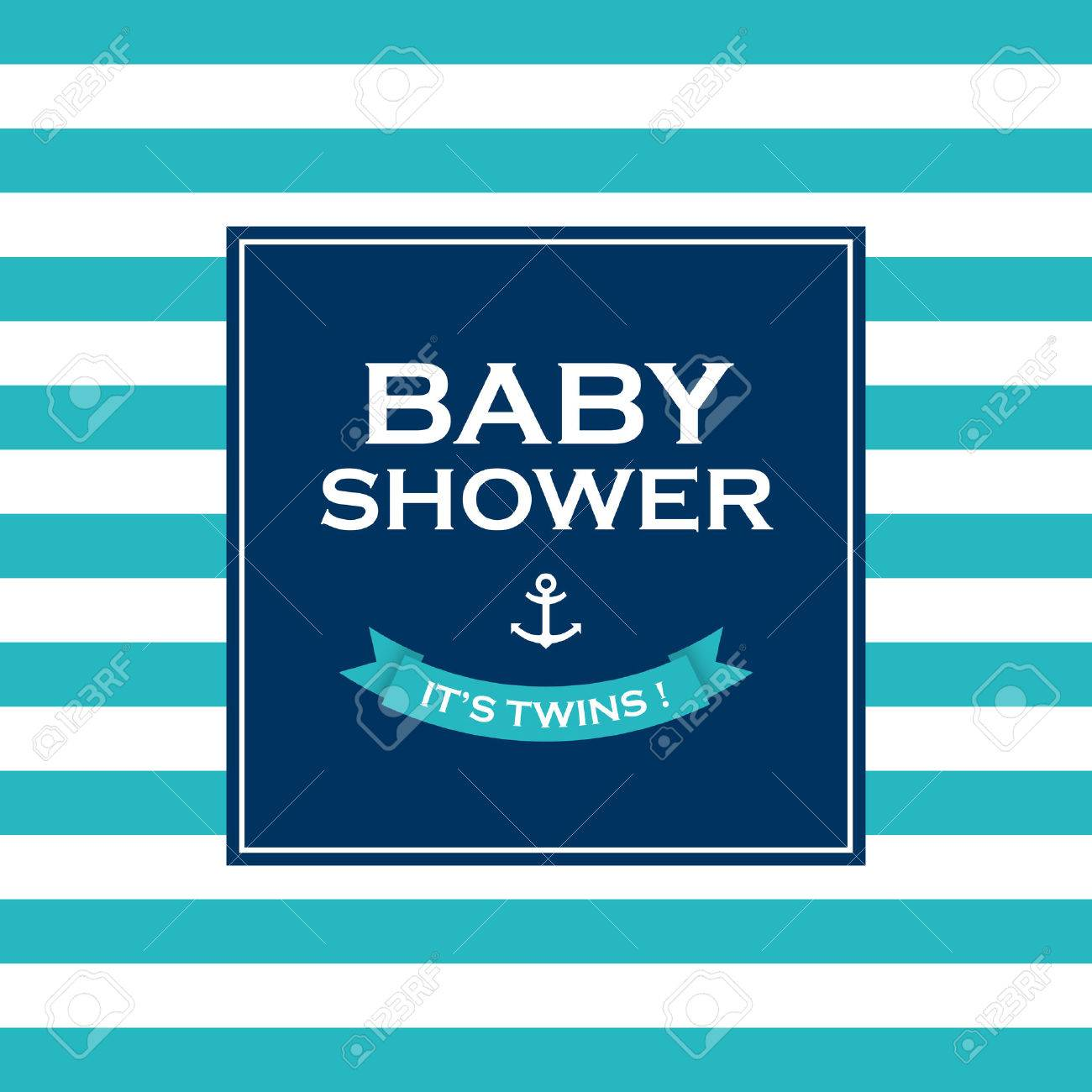Baby shower card invitation, it�s a twin  Vector design elements editable Stock Vector - 22497598