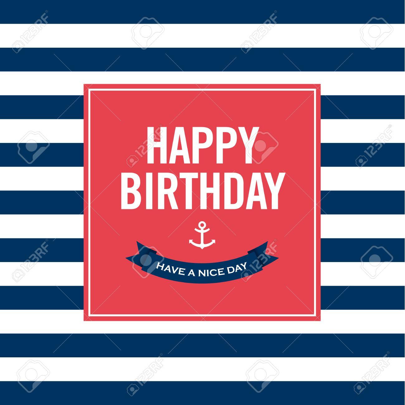 Feliz Cumpleaños Tarjeta De Invitación Marinero Tema Del Texto Y El Color Editable