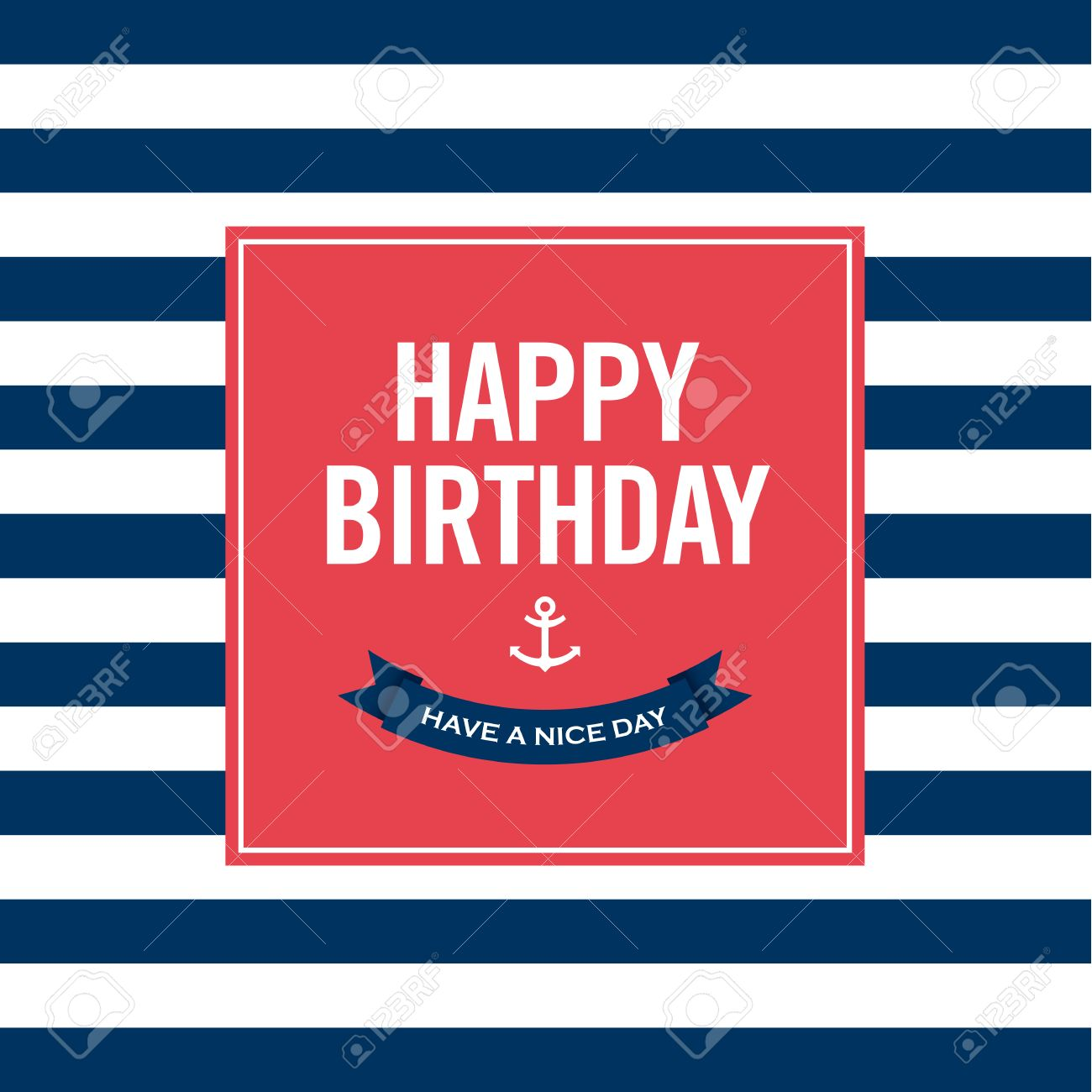Happy birthday invitation card  Sailor theme  Text and color editable Stock Vector - 22497732