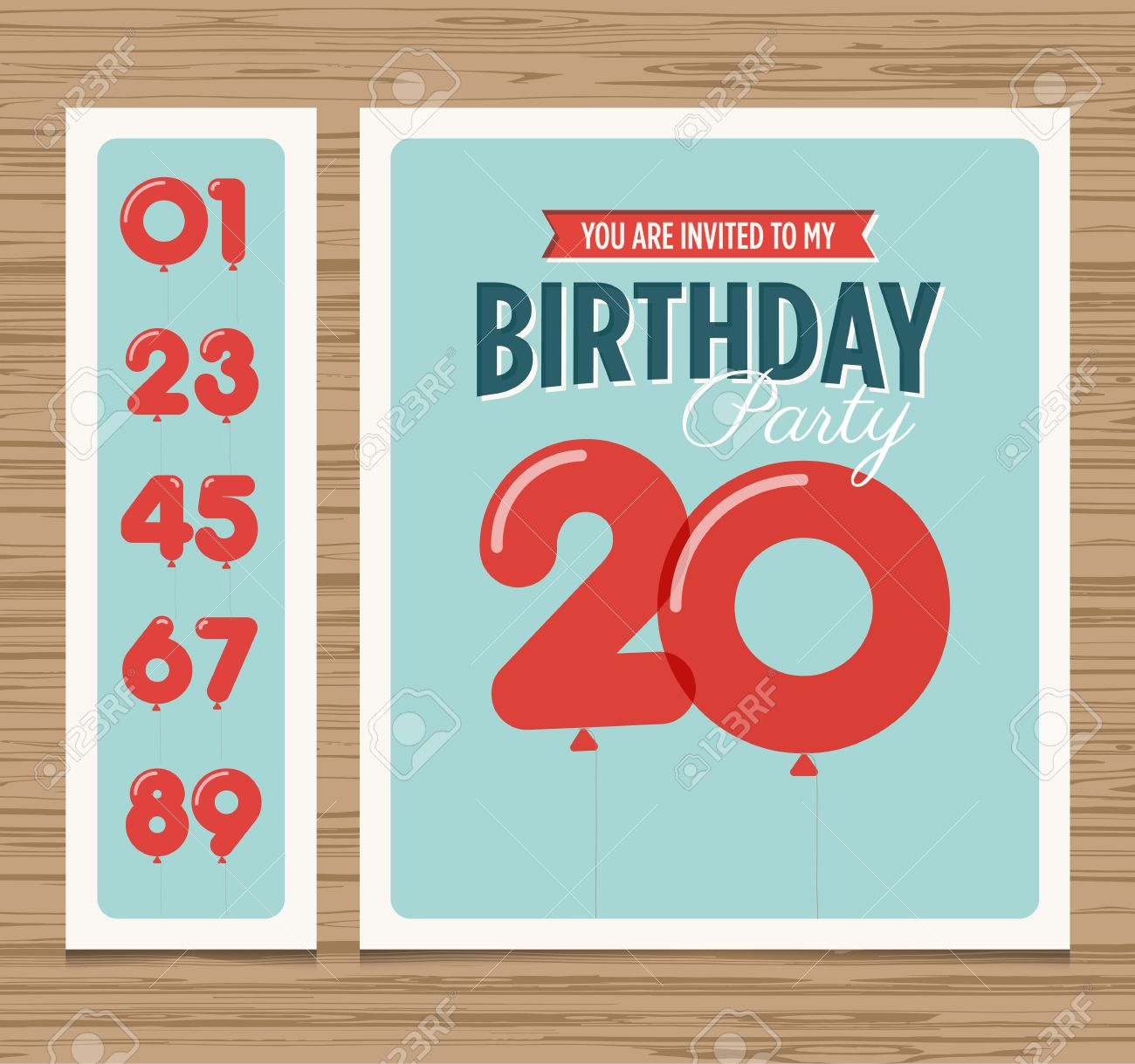Birthday Party Invitation Card Balloons Numbers Vector Design