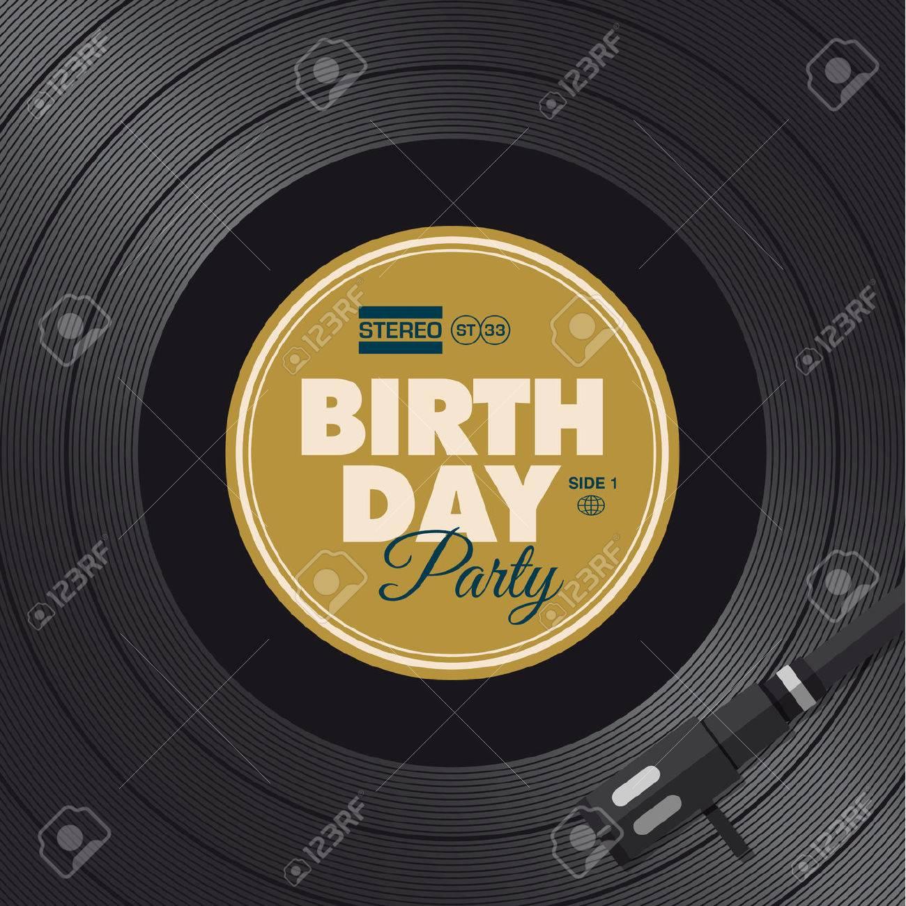 Birthday Party Invitation Card Vinyl Illustration Background