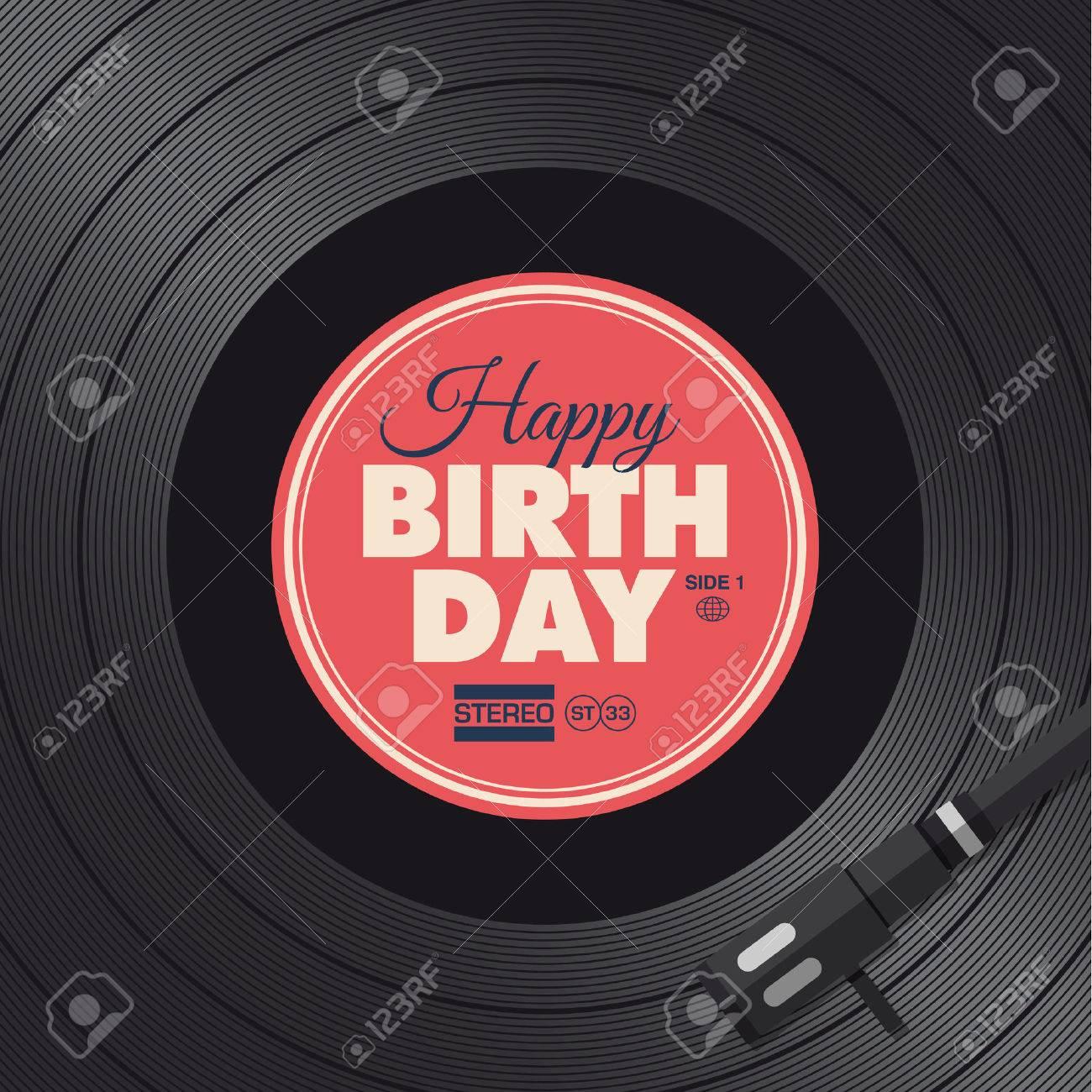 Happy birthday card Vinyl illustration background, vector design..