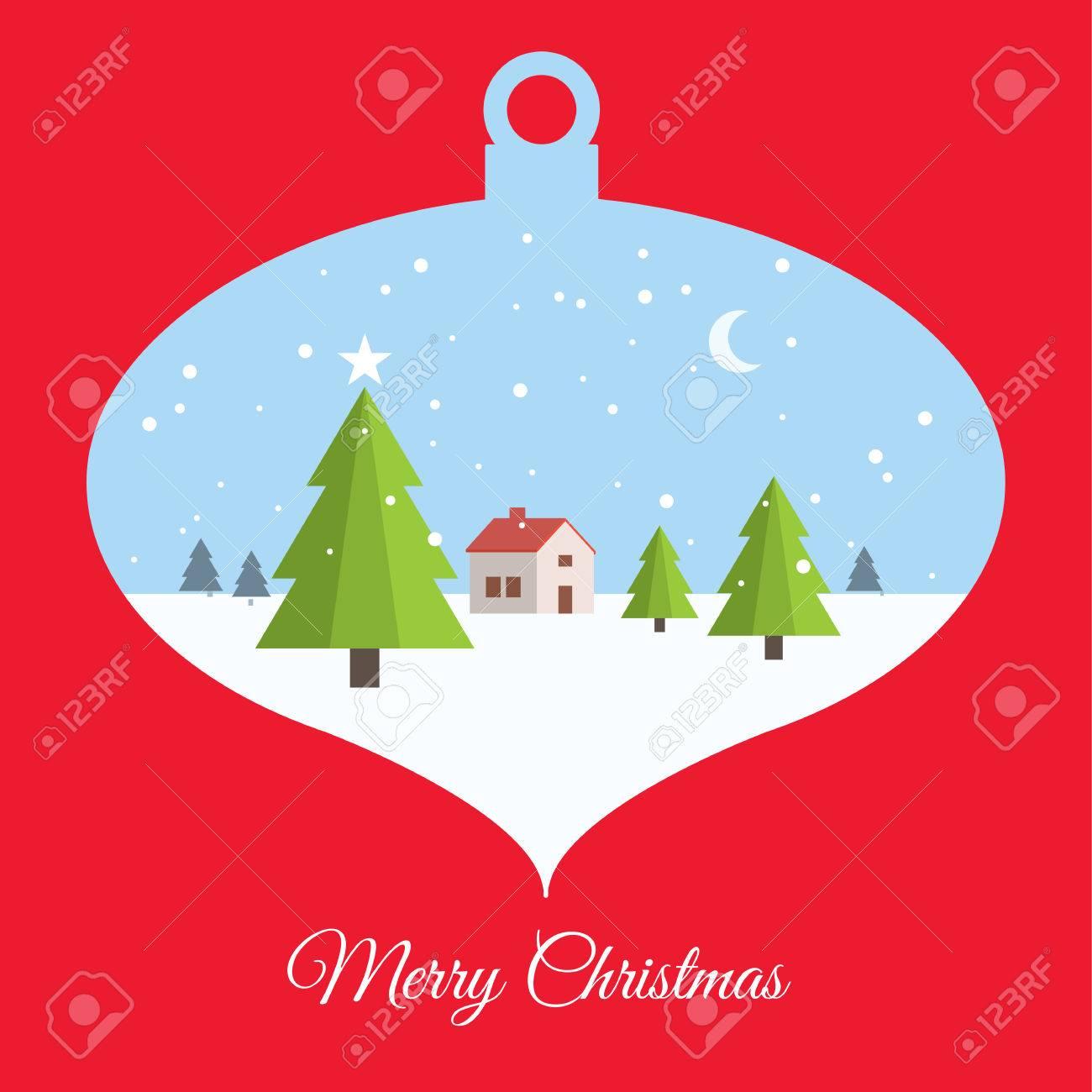 Merry Christmas Card, With Christmas Ball Scene Royalty Free ...