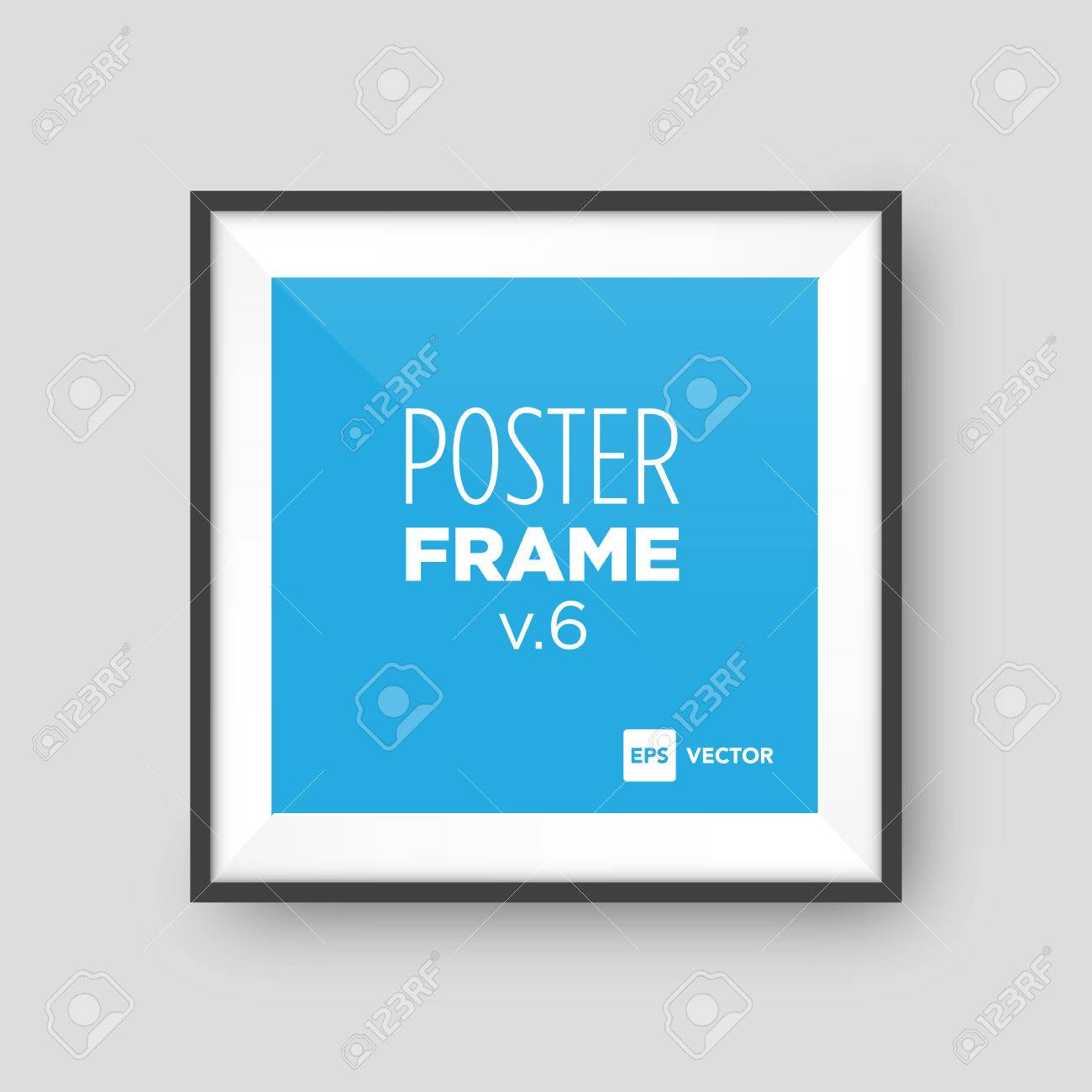 Poster Mockup Template With Black Square Frame Royalty Free