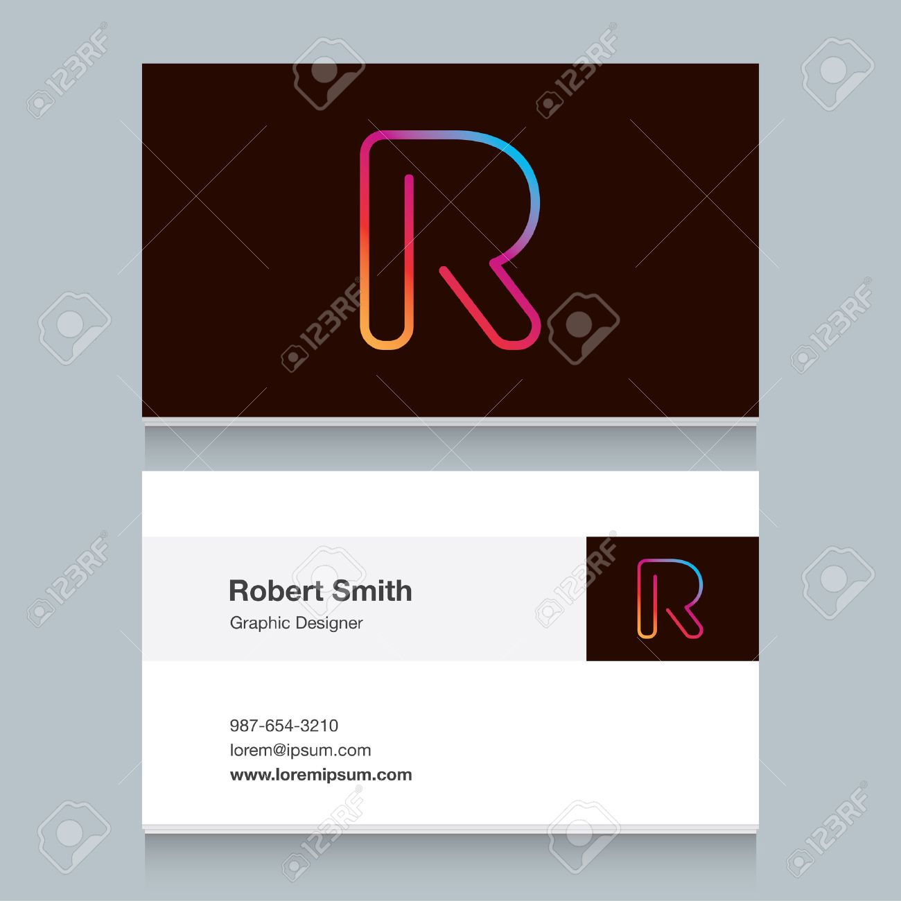 Logo alphabet letter r with business card template vector logo alphabet letter reheart Choice Image
