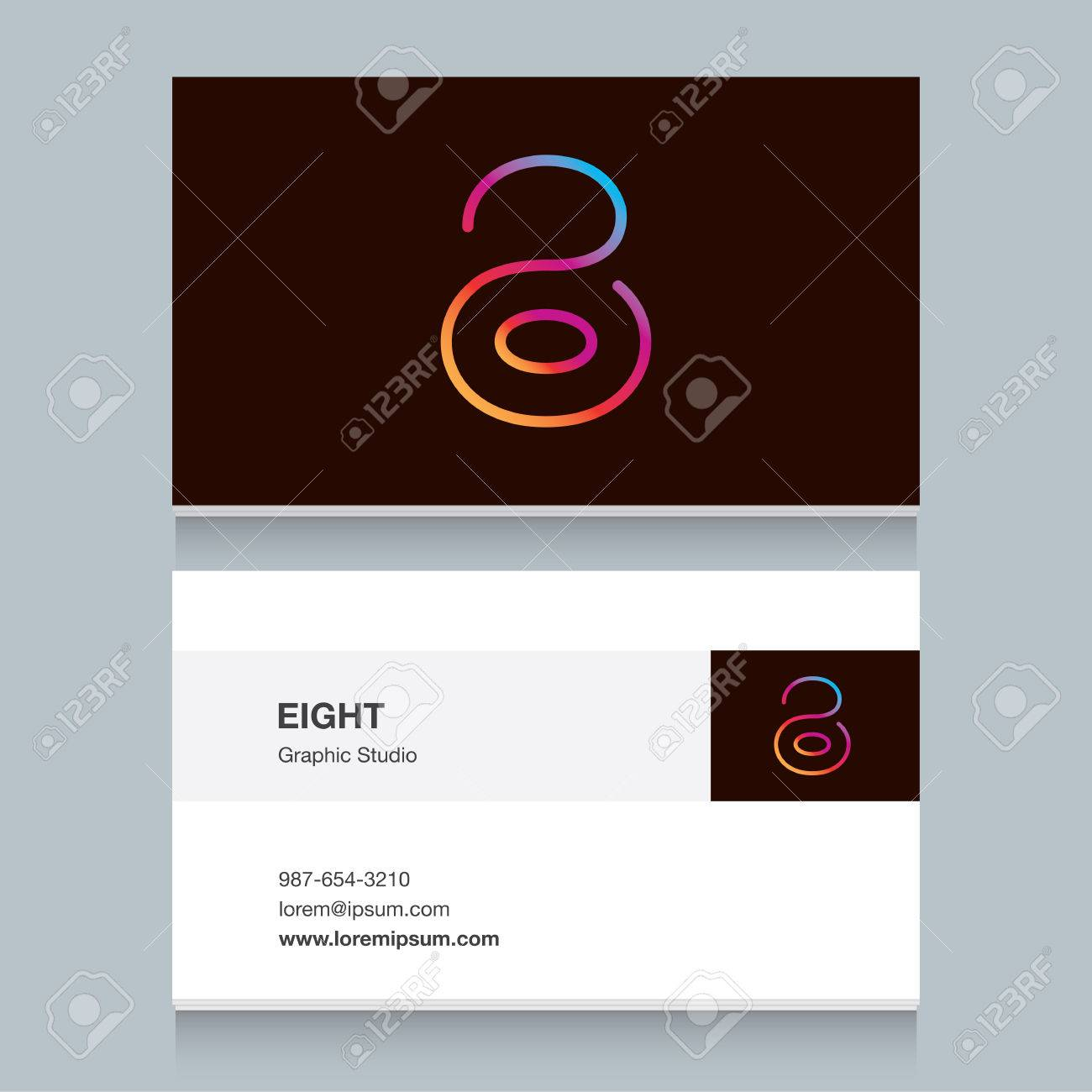 Logo number eight 8 with business card template vector design banco de imagens logo number eight 8 with business card template vector design fully editable reheart Choice Image