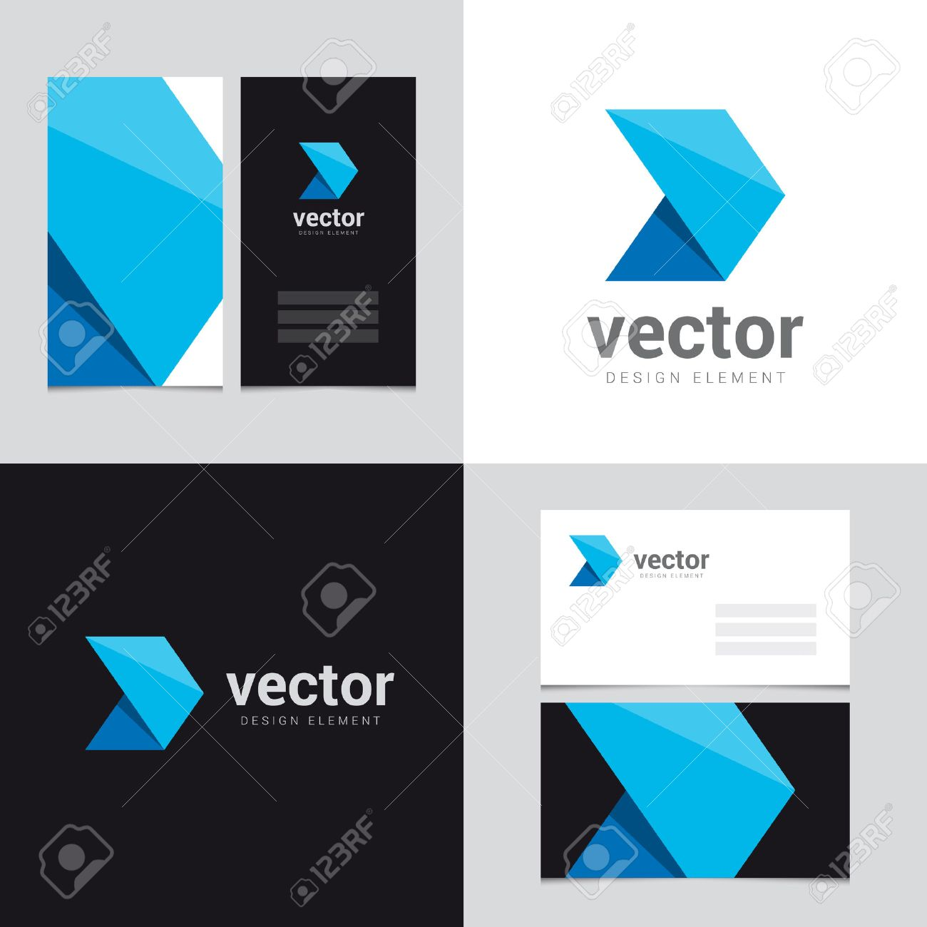 logo design element with two business cards template 23 vector