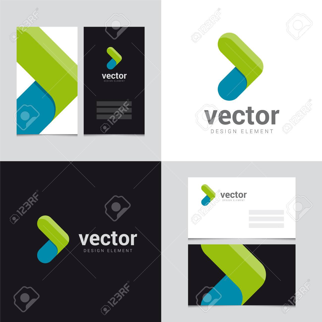 logo design element with two business cards template  27  vector