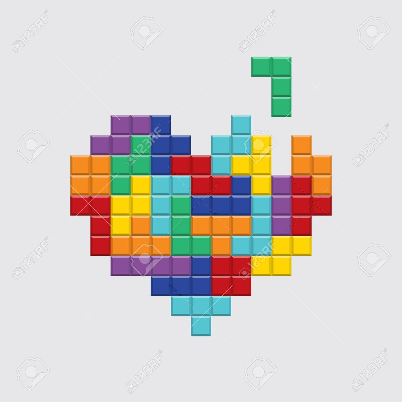 Valentines Day Card Video Game Tetris Colorful Heart Retro