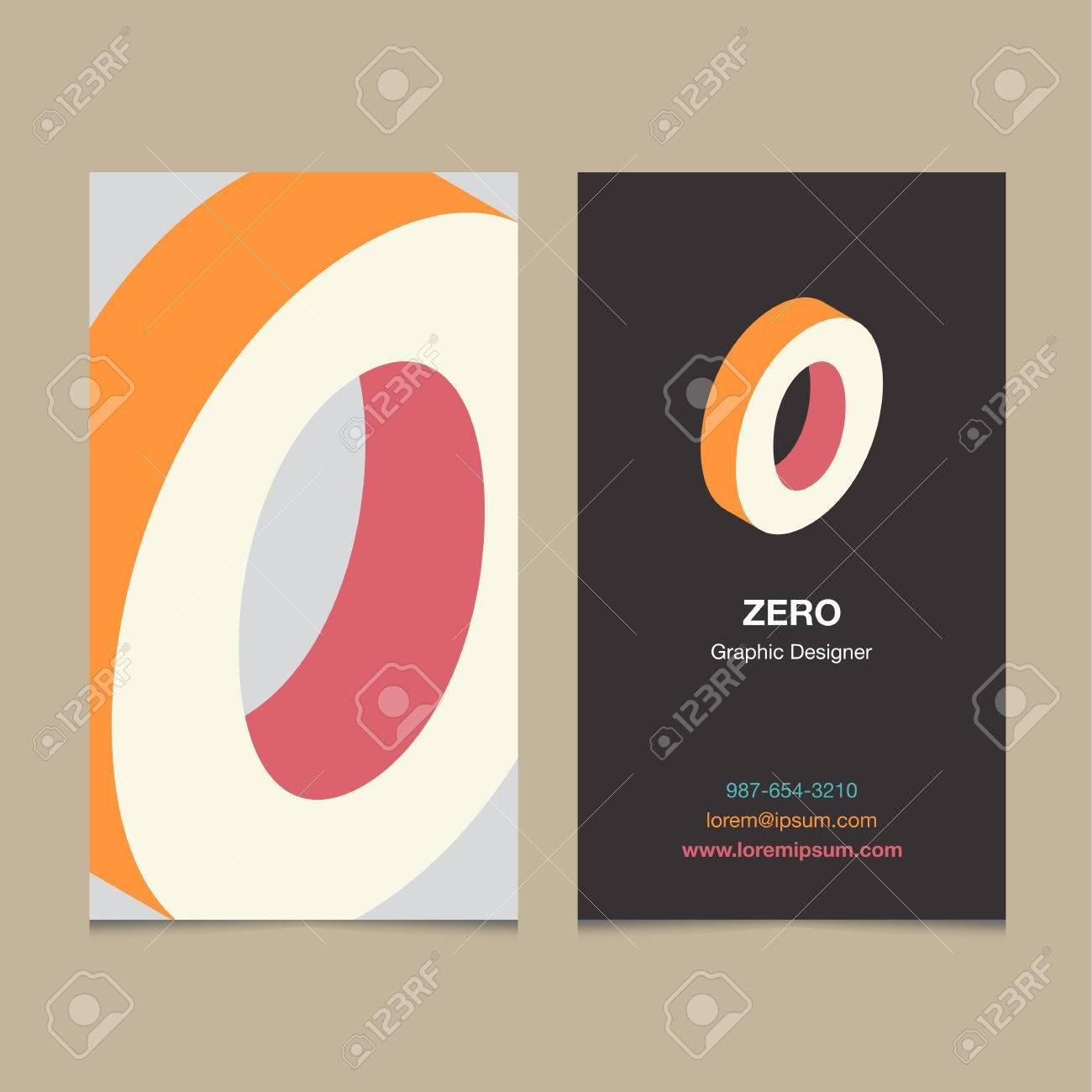 Numero De Logo 0 Avec Le Modele Carte Visite Vector Design
