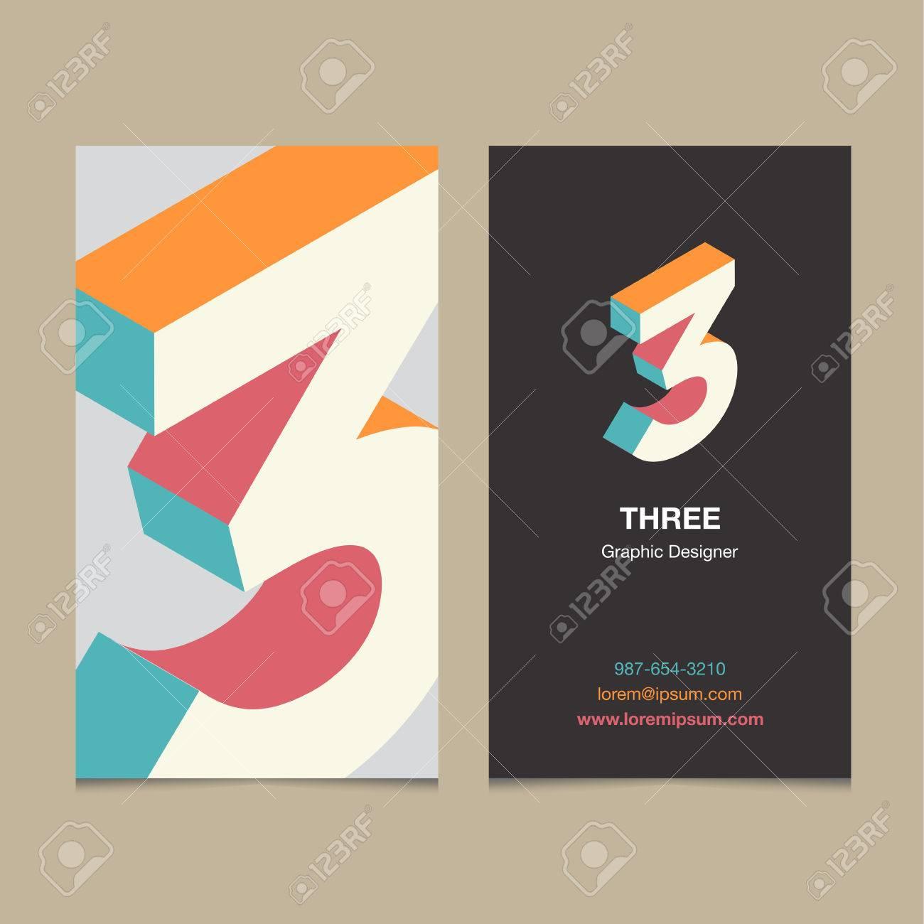 Numero De Logo 3 Avec Le Modele Carte Visite Vector Design