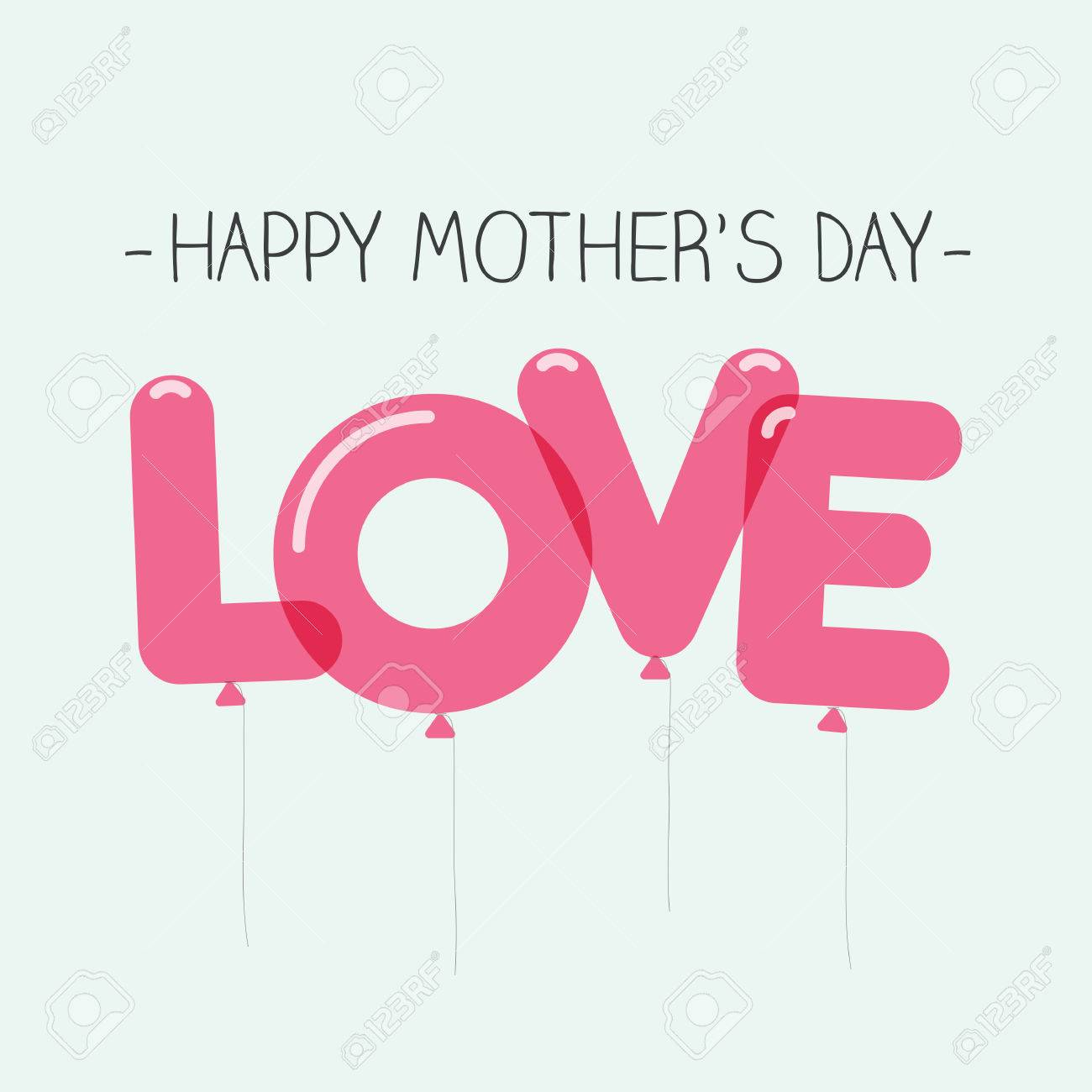 happy mothers day card love balloons type editable vector design