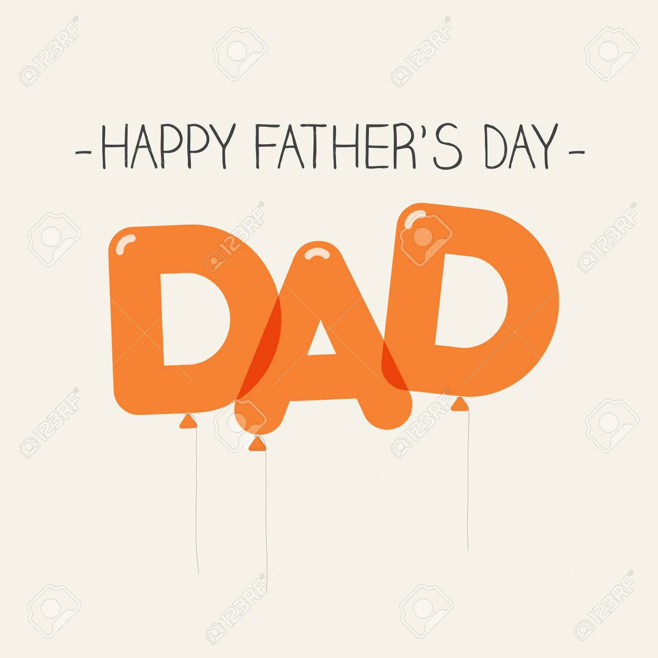 happy fathers day card dad balloons type editable vector design stock vector