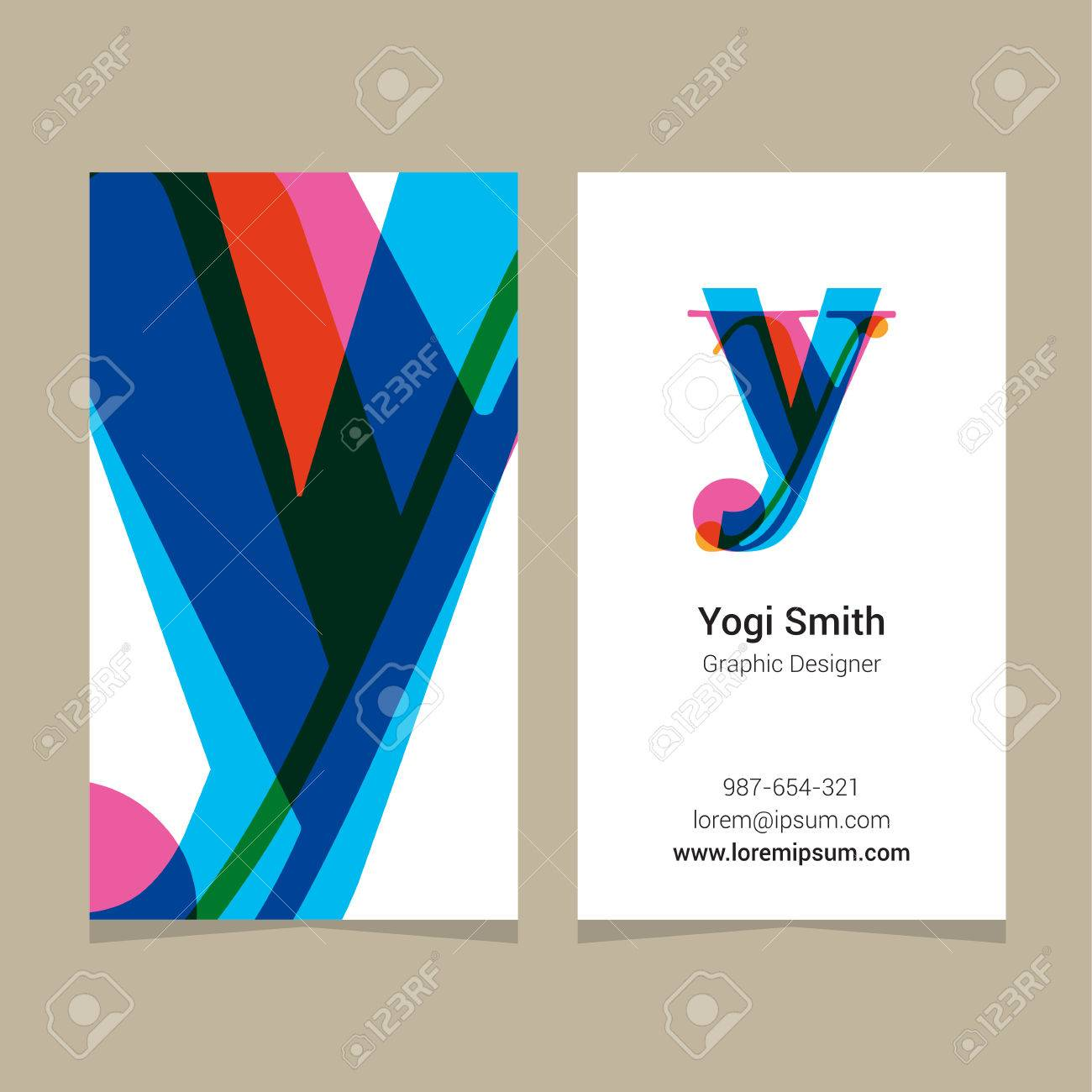Logo Alphabet Letter Y With Business Card Template Vector