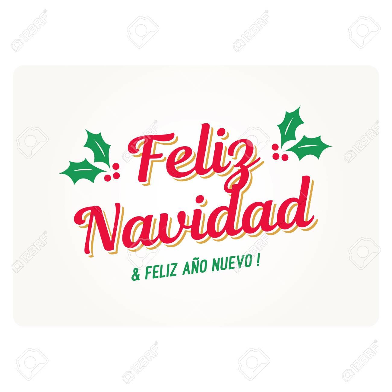 Christmas Card With Mistletoes. Spanish Version. Editable Vector ...