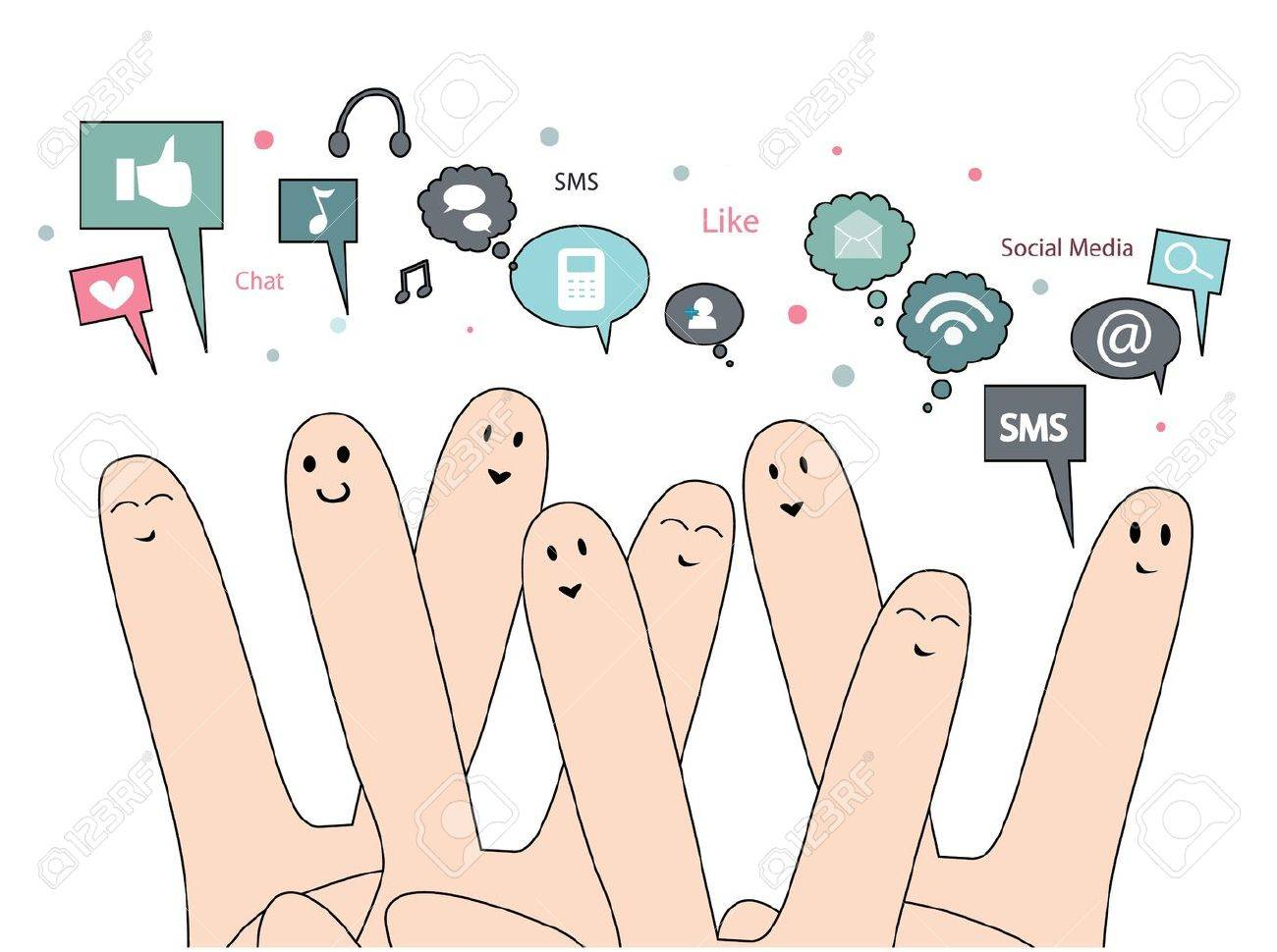 happy fingers with social media Stock Vector - 15250683