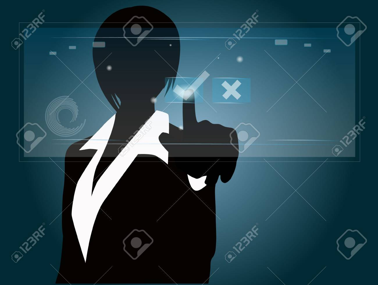 business people press approved mark Stock Vector - 15840363