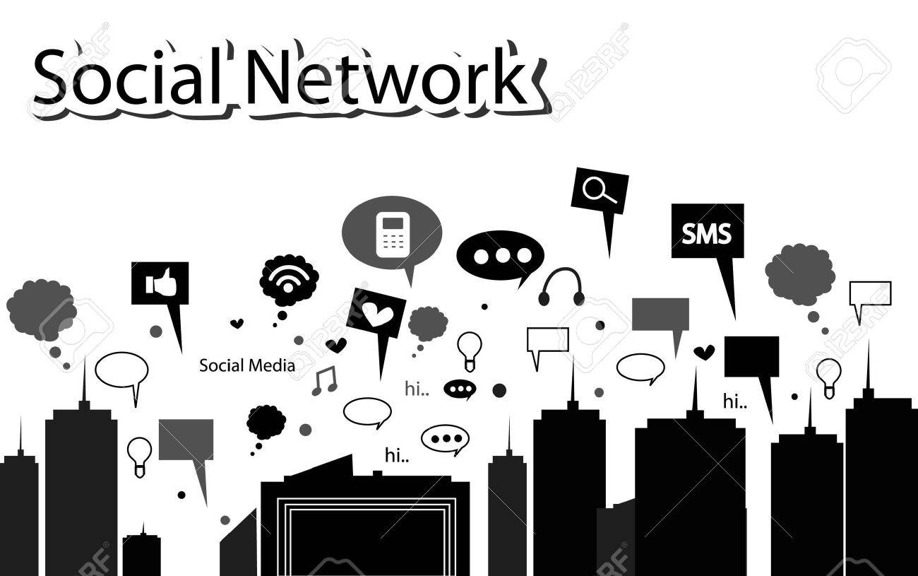 silhouette social network in the city - 16136176