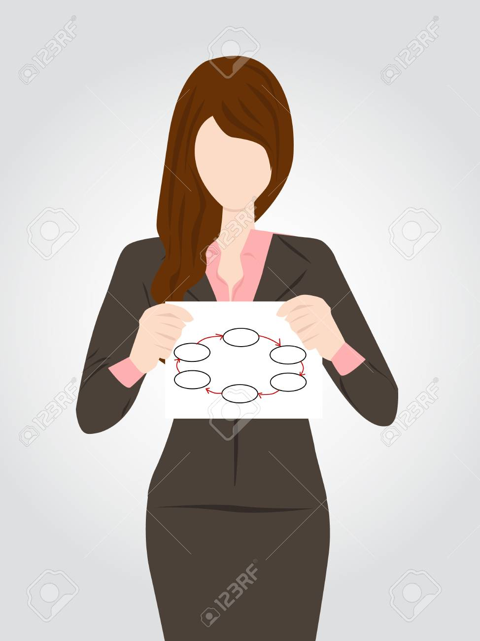 business woman holding sign in hand Stock Vector - 17097323