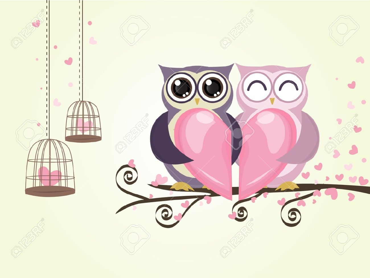 Two Owl Bird Couple With Heart Love In Valentine Day Vector Royalty