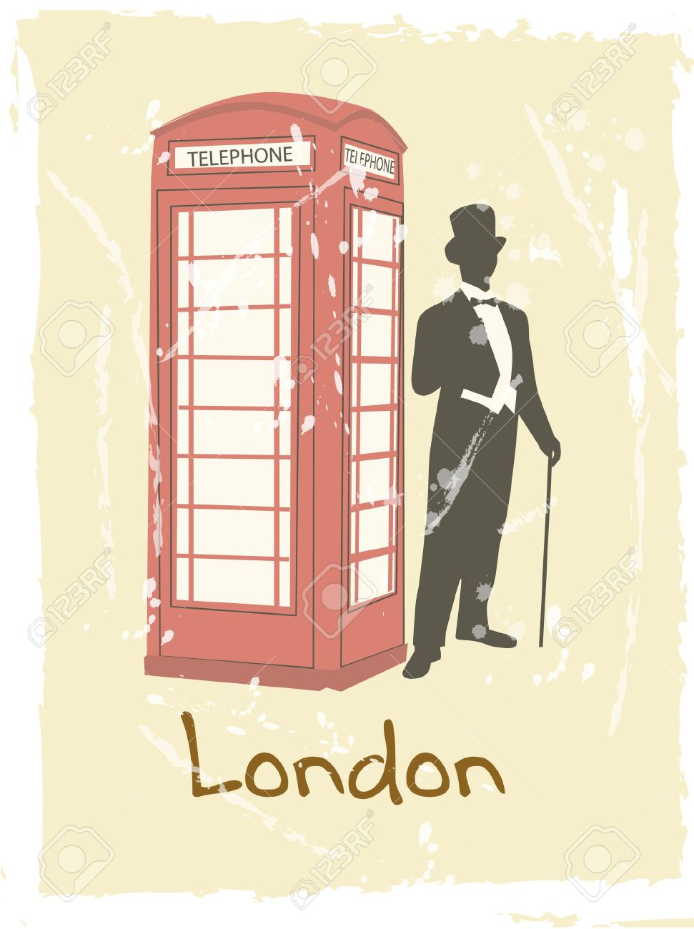 victorian gentleman london doodle with payphone Stock Vector - 19583043