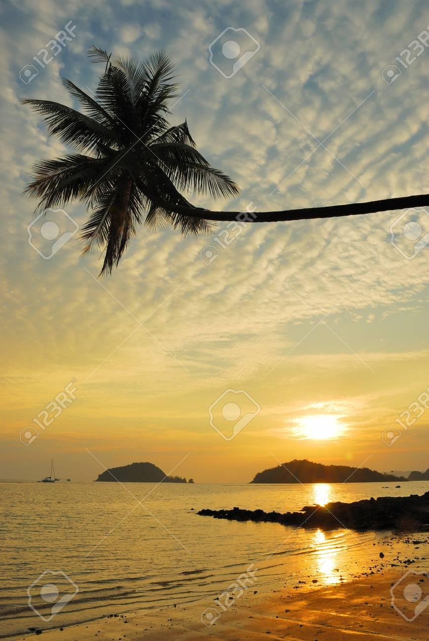 Palm Beach Sunset ,Trad, Thailand. Stock Photo - 9273818