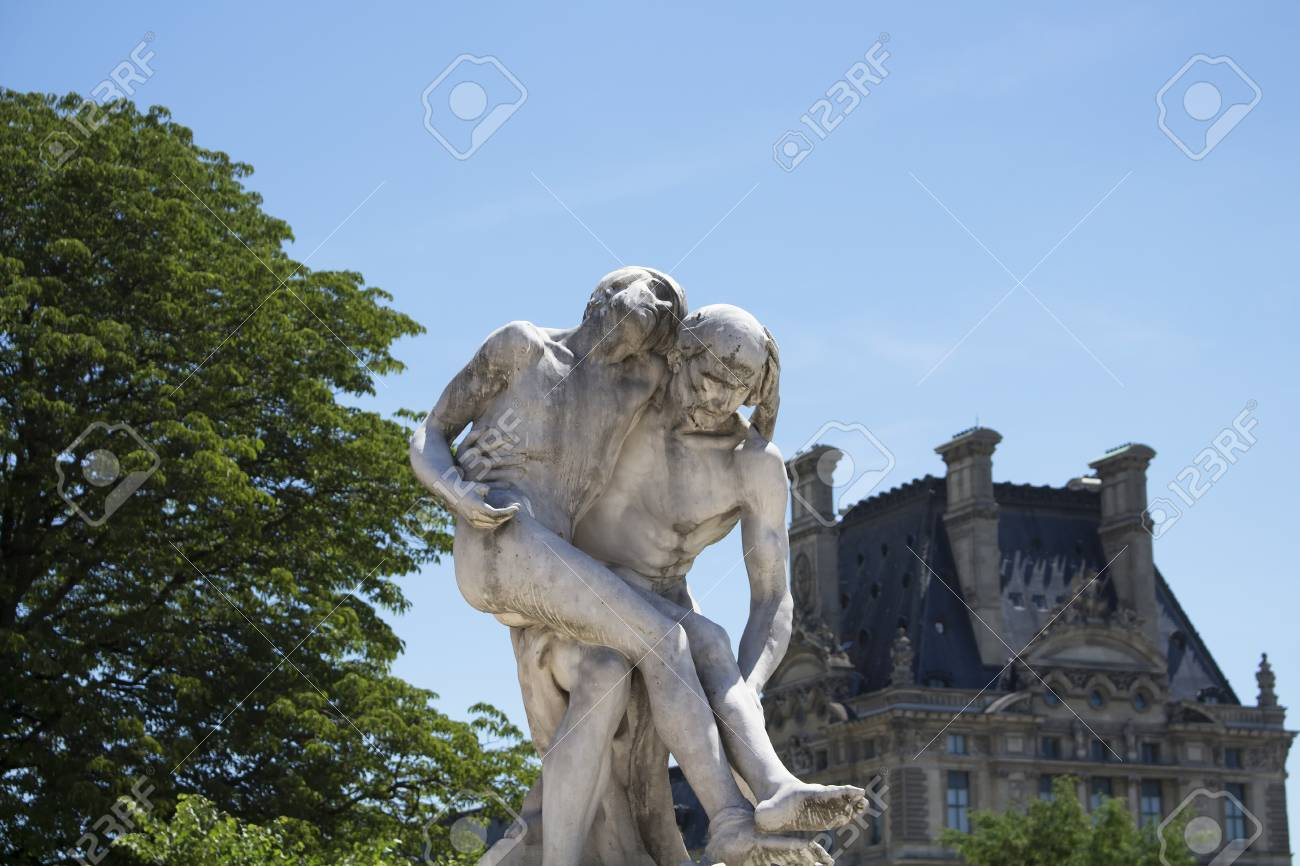 View Of A Two Men Statue At Jardin Des Tuileries In Paris