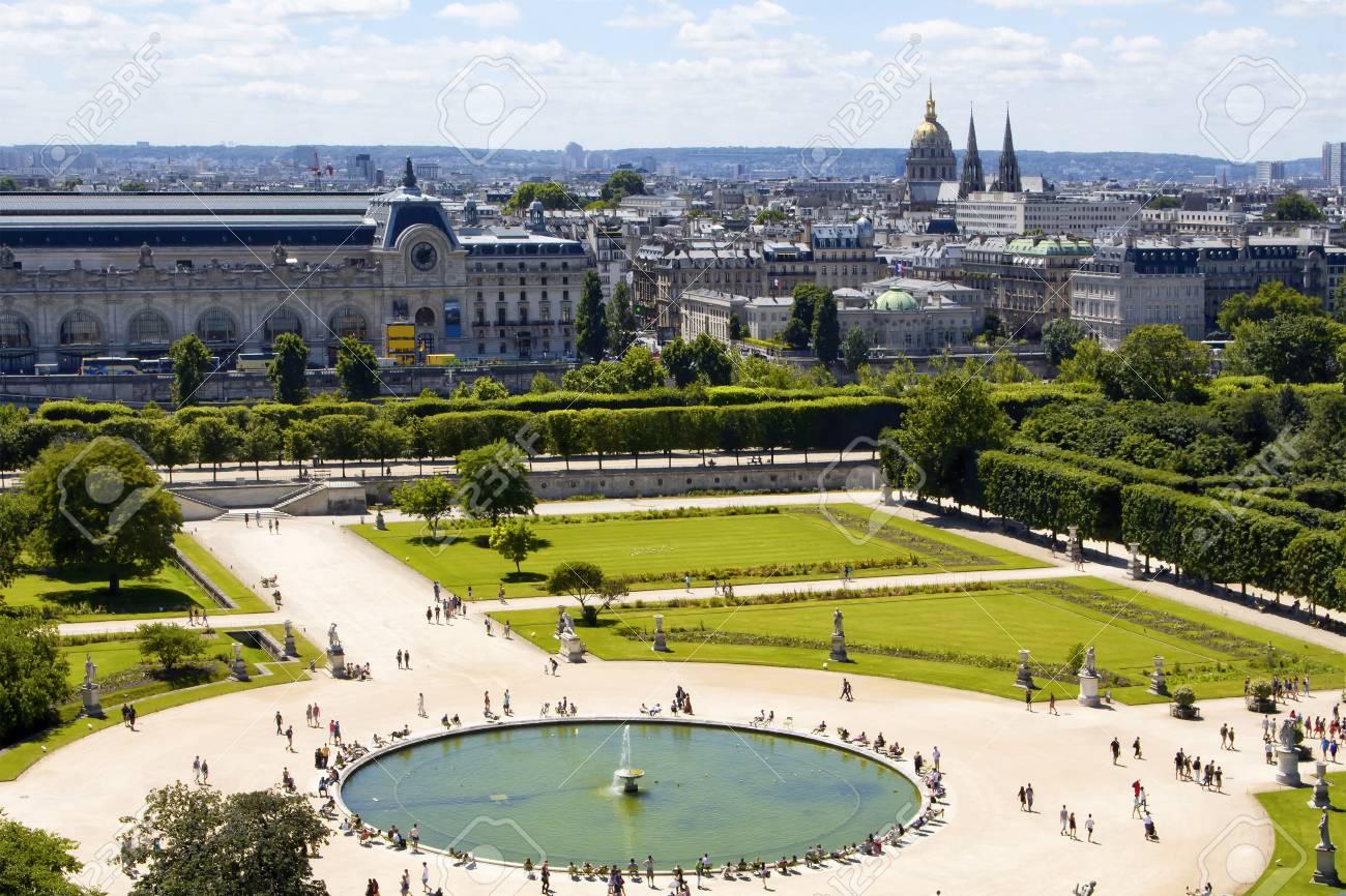 Aerial View Of Jardin Des Tuileries And Paris Cityscape Expansive