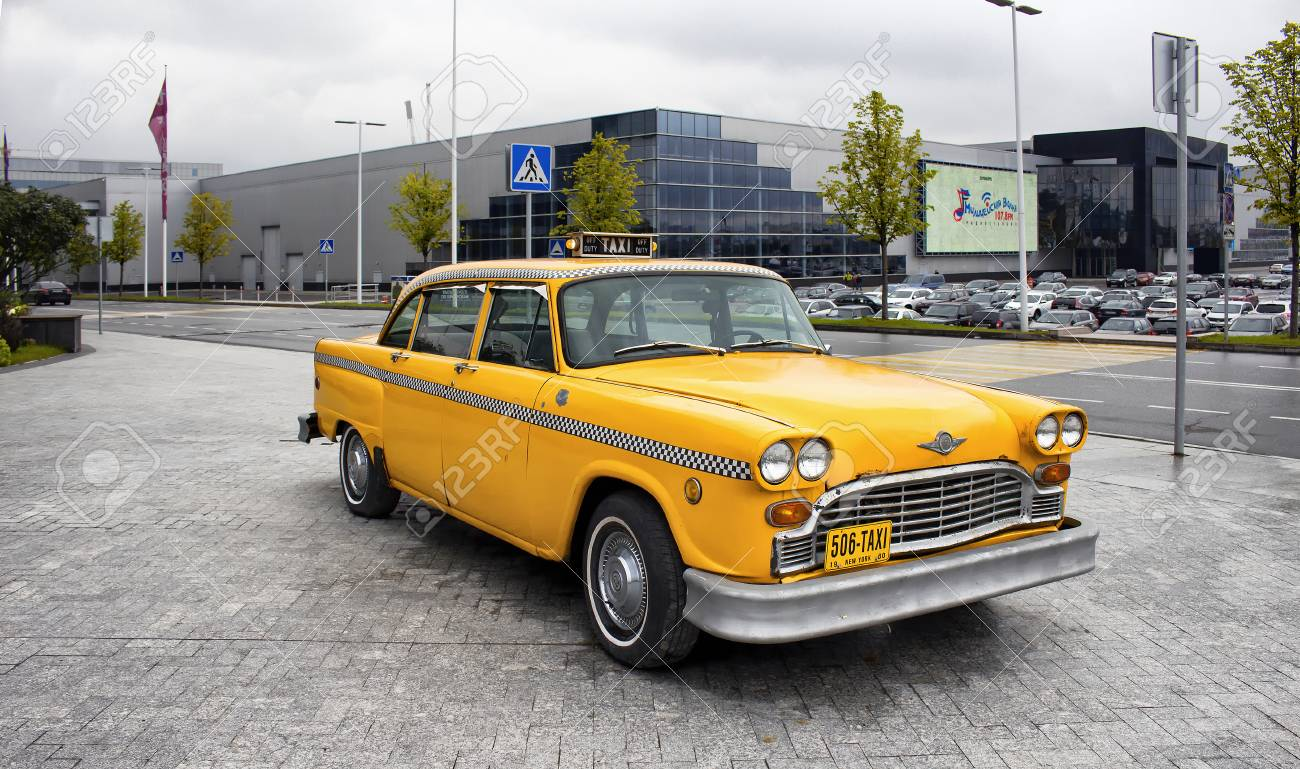 Yellow, Old, Vintage Taxi Car In Front Of Vegas Mall In Moscow ...