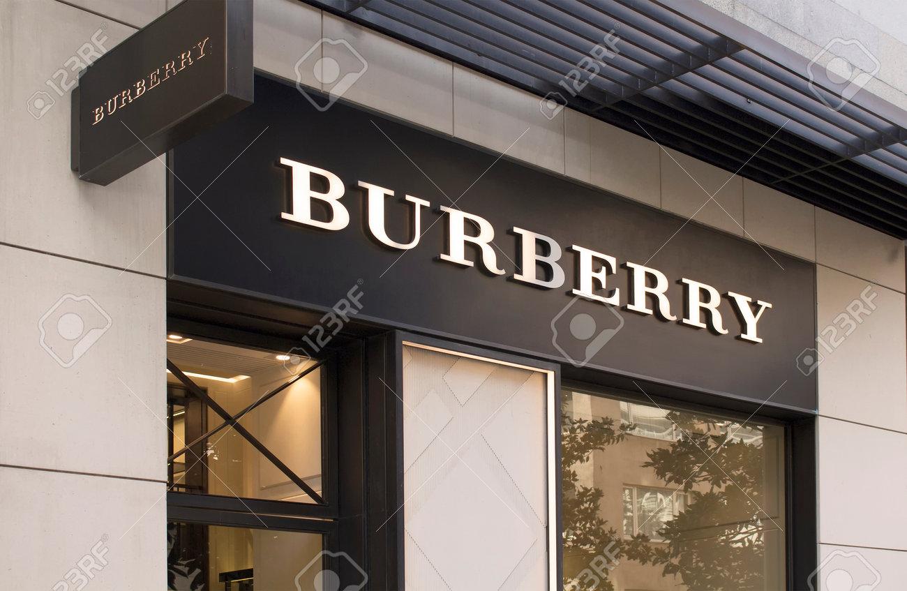 Signage and store window of British luxury fashion brand's store