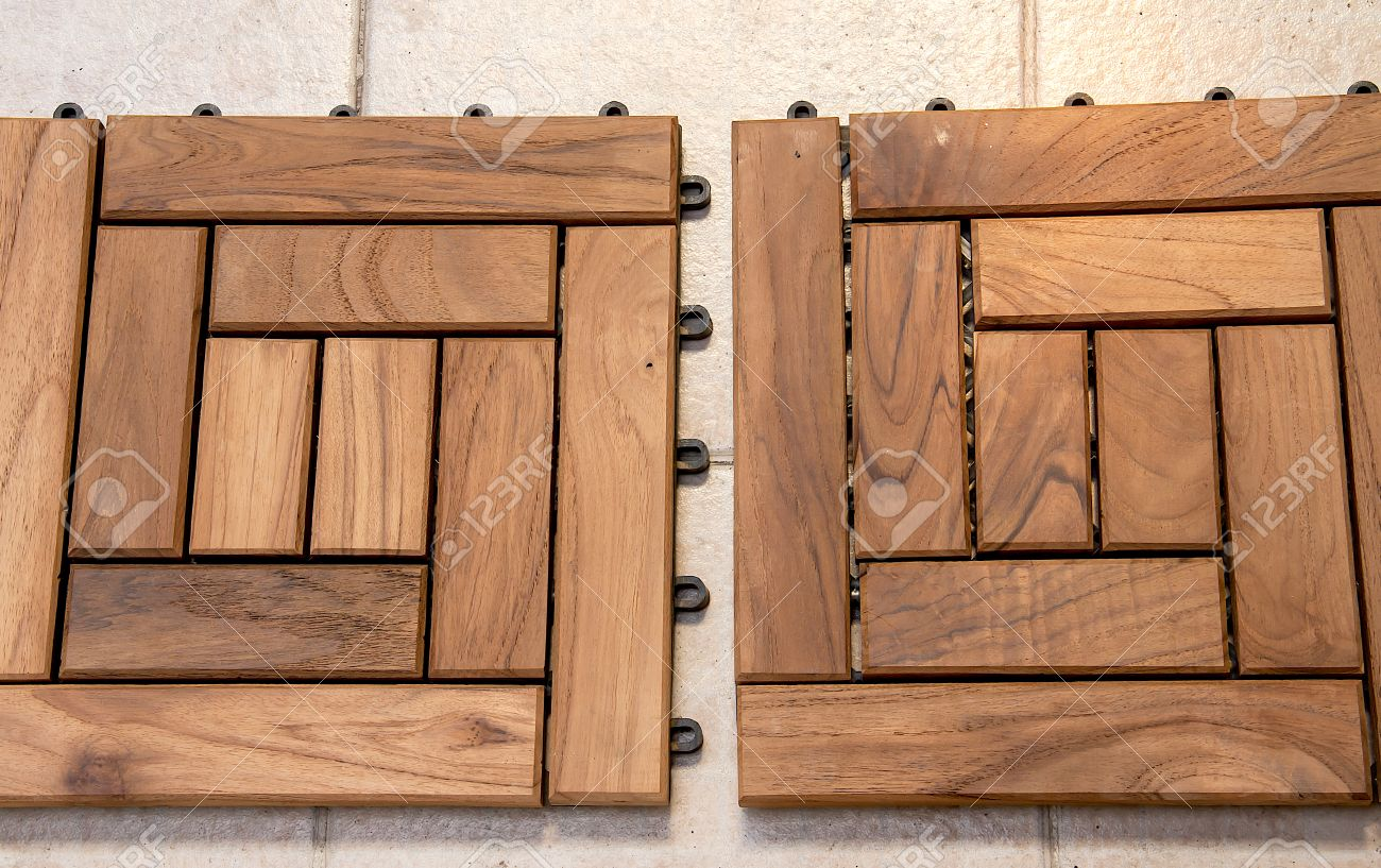 Wood Floor For Decoration In The Garden On The Cement Floor. Stock ...